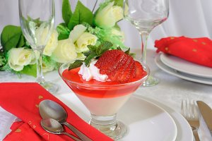 Dessert of yogurt with strawberry