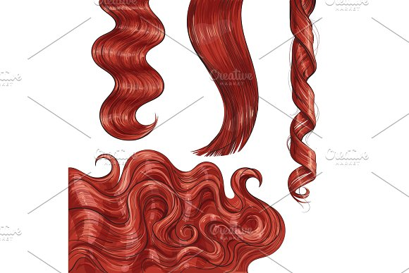 Shiny long red, fair straight and wavy hair curls in Illustrations