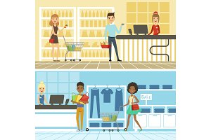 Groups of funny and happy people make shopping in supermarket. Vector horizontal banners