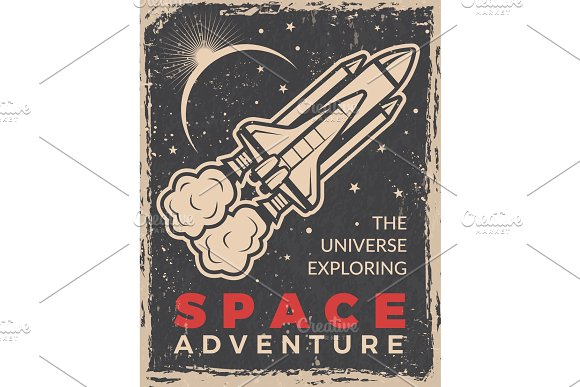 Retro Poster With Space Shuttle Design Template With Place For Your Text