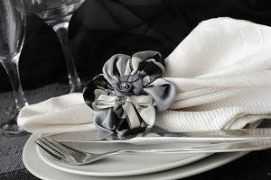 napkin on a plate with cutlery