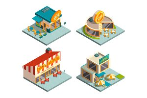 City cafe buildings. Isometric pictures