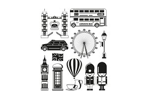 Vector silhouette of london landmarks