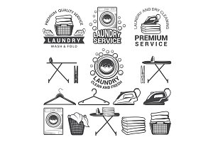 Monochrome labels of laundry service. Illustrations of washing machines