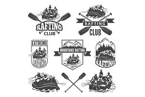 Labels for sport club of extreme dangerous water sport. Vector pictures of rafting
