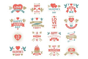 Labels and symbols of loves. St valentine day pictures for scrapbook design