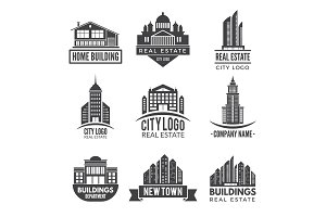 Real estate logos and monochrome labels