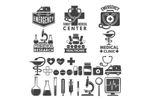 Symbols of medicine. Medical logos and badges