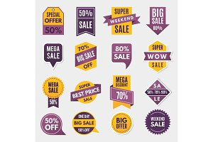 Labels and tags with advertizing info for promotion and big sales