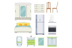 Modern furniture for bedroom, kitchen and living room