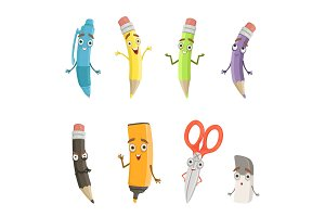 Cartoon characters of different drawing tools. Pencils, pen and others