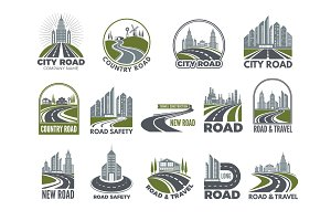 Monochrome big set of logotypes template with asphalt roads, expressway or highway