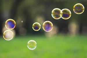 мыльные пузыри над зеленым лугом