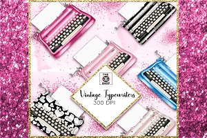 Vintage typewriters clipart set