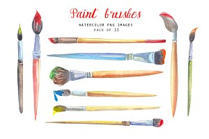 Paint brushes clipart set