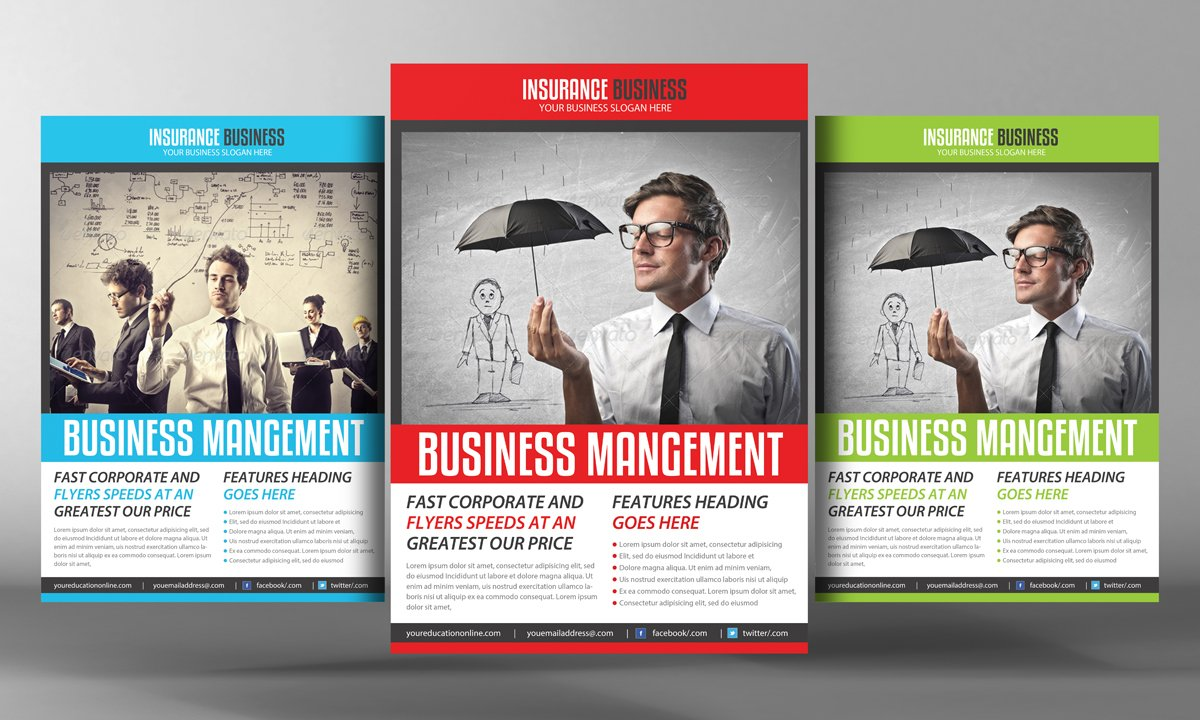 Insurance business flyer template flyer templates creative market wajeb
