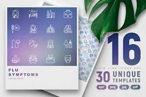 Flu Symptoms Icons Set 30 Templates