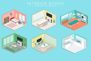 Isometric room interior set