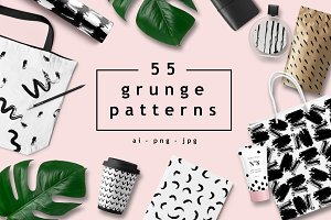 55 grunge patterns, EPS+PNG+JPG