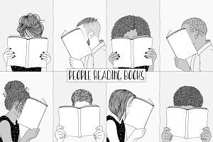People Reading Books - Hand Drawn