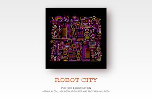 Robot City vector artwork
