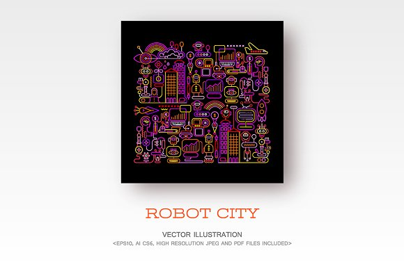 Robot City Vector Artwork
