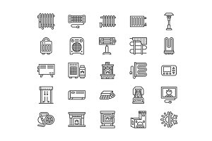 Heaters, Fireplaces Line Icons