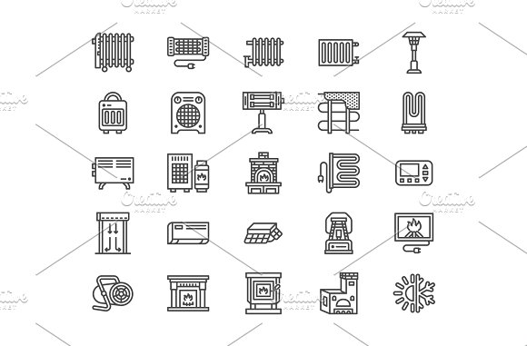 Heaters Fireplaces Line Icons