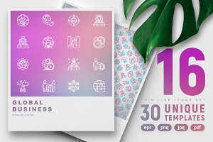 Global Business Icons Set Templates