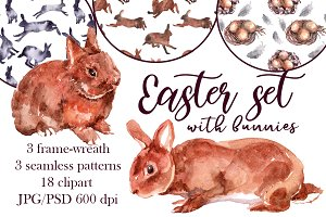Watercolor Easter set with bunnies