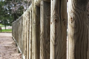 wooden fence in prespective