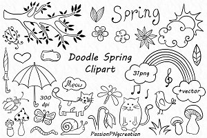 Doodle Spring Clipart