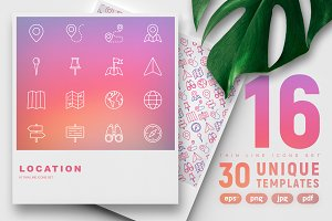 Location Icons Set | 30 Templates