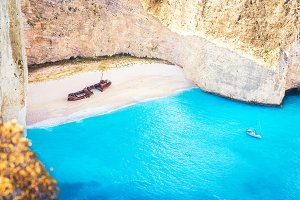 Navagio beach on Zakynthos island
