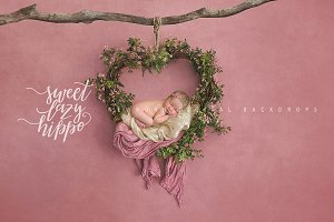 Heart Wreath. Newborn  Backdrop.