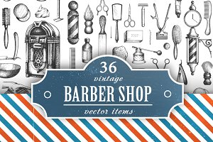 """Vintage Barbershop"" vector set"