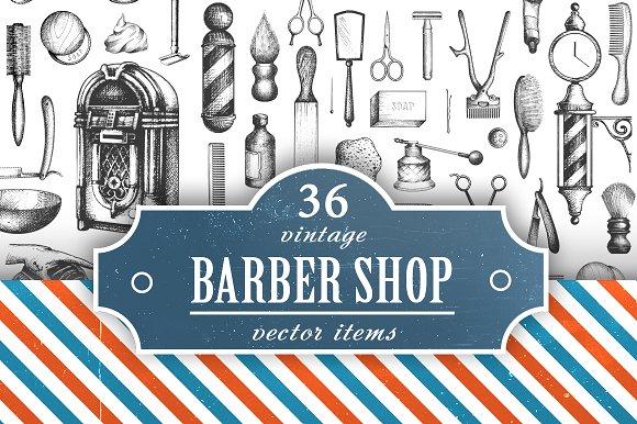 Vintage Barbershop Vector Set