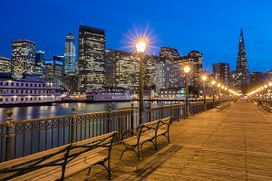 San Francisco Skyline and Boardwalk