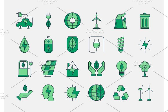 Green Outline ECO Icons