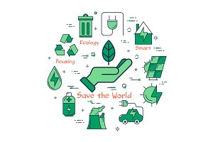 Green Save the World concept
