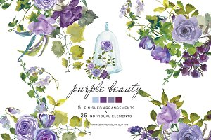 Watercolor Purple Roses Clipart