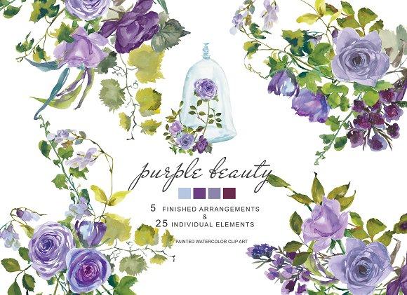 40% OFF Watercolor Purple Roses
