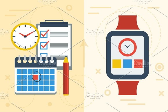 Time Planning With App On Smart Watch And Paper