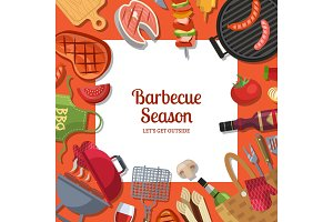 Vector illustration with barbecue or grill cooking theme with place for text