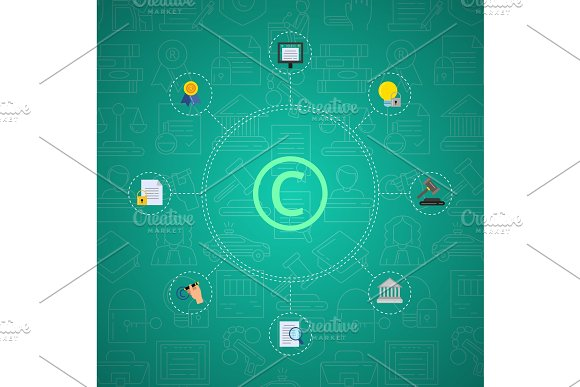 Vector Flat Style Copyright Elements Infographic On Gradient Background With Linear Copyright Icons