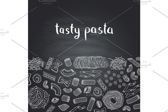 Vector Hand Drawn Contoured Pasta Types On Chalkboard Background With Lettering
