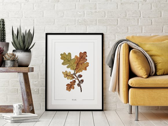 Poster With Oak Watercolor