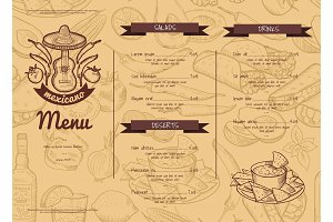 Vector horizontal restaurant or cafe template with sketched mexican food elements