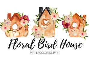 Floral Bird House Watercolor Clipart