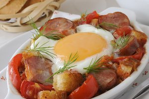 Stew with sausage and egg